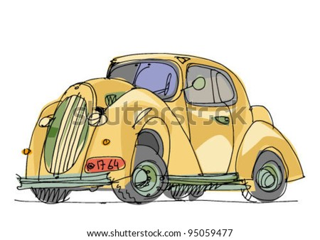 vintage yellow car - cartoon - stock vector