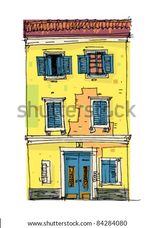 vintage yellow house - stock vector
