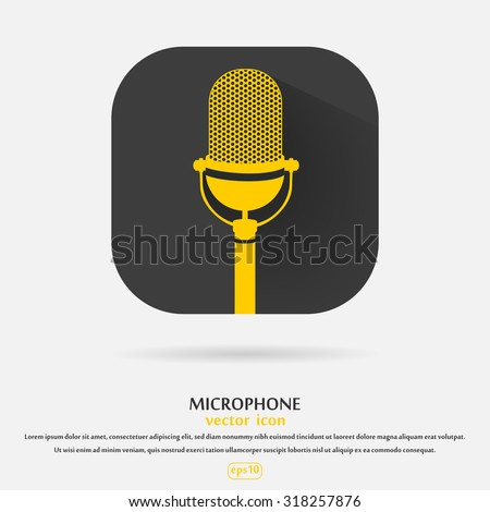 Vintage yellow silhouette retro stage microphone - web icon in black frame. old technology object concept, flat and shadow theme design sign, vector art image illustration isolated on white background - stock vector