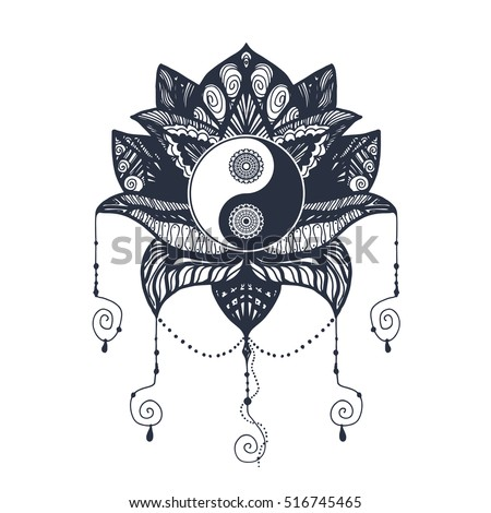 vintage yin yang mandala lotus tao stock vector royalty free 516745465 shutterstock. Black Bedroom Furniture Sets. Home Design Ideas