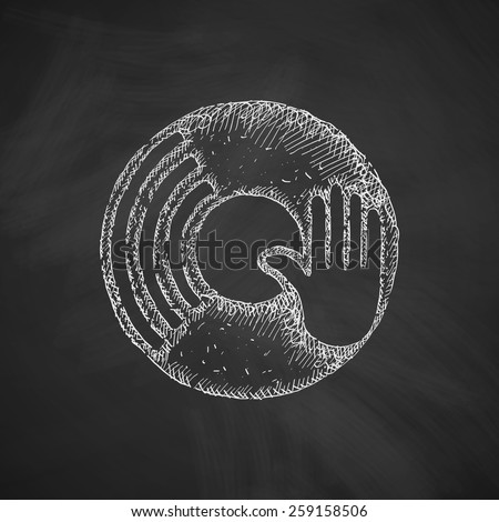 vinyl and dj hand icon - stock vector