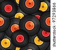 Vinyl audio discs seamless background - stock photo