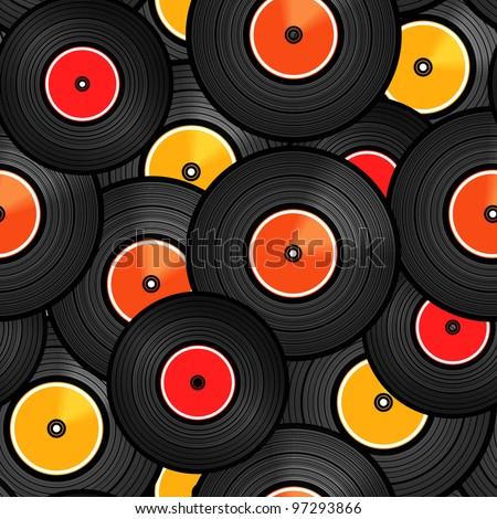 Vinyl audio discs seamless background - stock vector