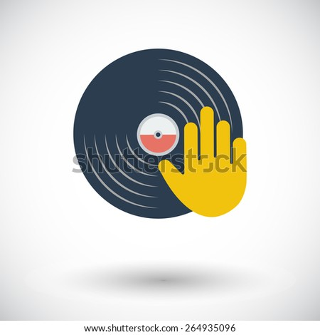 Vinyl disc whit hand. Single flat icon on white background. Vector illustration. - stock vector