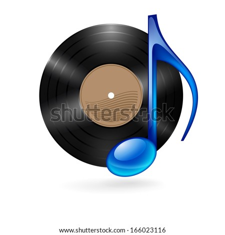 Vinyl disc with blue musical note as music icon. - stock vector