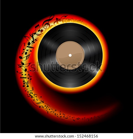 Vinyl disc with music notes flying out in spiral of flame color. Effect of rolling record. Illustration on black background. - stock vector
