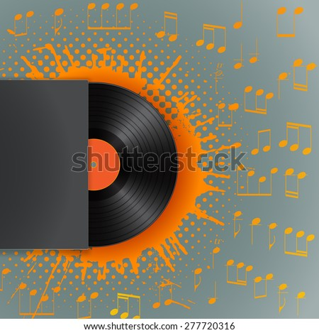 vinyl disk in blank cover envelope on stain with halftone and musical notes background  - stock vector