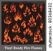 Vinyl ready fire flames set. Great for vehicle graphics and T-shirt decals. - stock vector