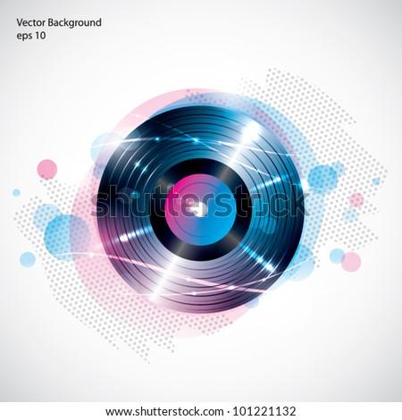 Vinyl record background - stock vector