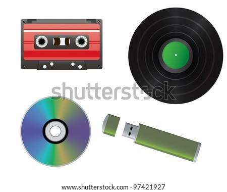 Vinyl record, cassette, CD, flash drive - stock vector