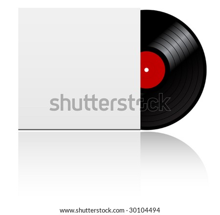 Vinyl record disk in box  on white background - abstract emblem. jpeg version also available - stock vector