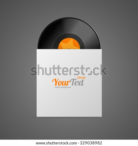 Vinyl Record in Paper Case Isolated on Grey Background. Vector illustration