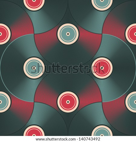 Vinyl record inspired background. Seamless pattern. Vector. - stock vector