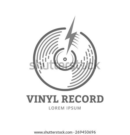 Vinyl record logo template. Vector music icon or emblem. - stock vector