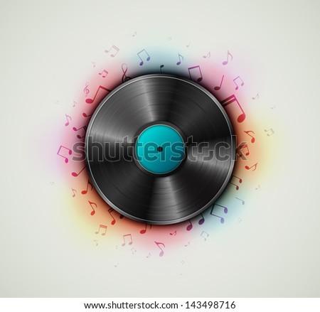 Vinyl record, music background. Eps 10 - stock vector