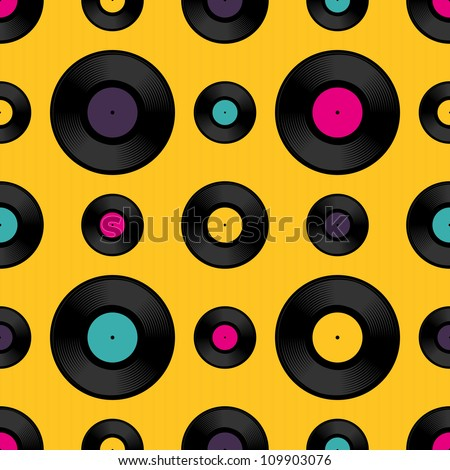 Vinyl record seamless background pattern. Vector illustration. - stock vector