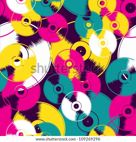 Vinyl record seamless background pattern. Vector illustration layered for easy manipulation and custom coloring. - stock vector