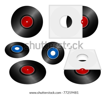 Vinyl record set in cover eps8 - stock vector