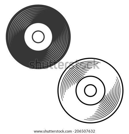 Vinyl record silhouette and outline illustration vector - stock vector