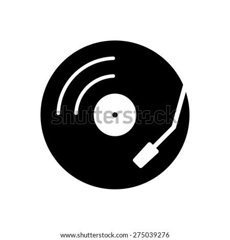 Vinyl record turntable icon - stock vector