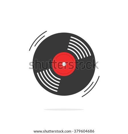 Vinyl record vector icon, gramophone vinyl record symbol, rotating record vinyl disc, flat vinyl lp, cartoon vinyl record label, logo modern simple illustration design isolated on white - stock vector