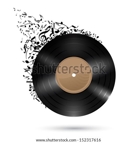 Vinyl record with music notes flying up. Illustration on white background. - stock vector