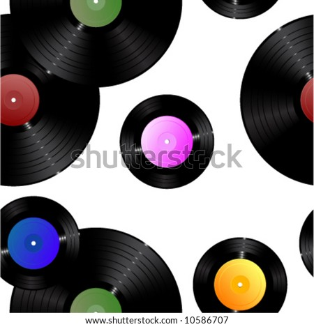 Vinyl records. Seamless vector in any direction. - stock vector