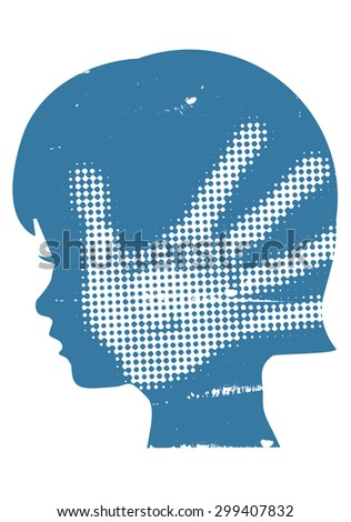 Violence against children. Little girl head silhouette with with hand print after hand slap. Vector available.  - stock vector