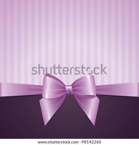 violet background with bow, vintage design, vector eps-10 - stock vector