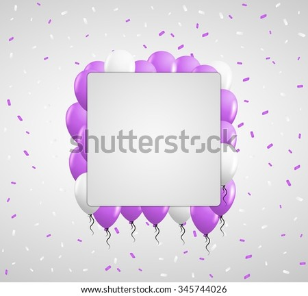 violet balloons and color confetti with blank square paper in center - stock vector