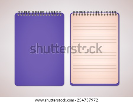 Violet Color Blank Notebook Vector  - stock vector