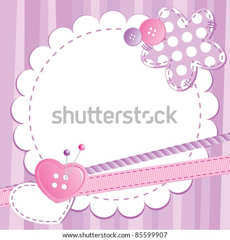 violet cute frame with buttons and patches - stock vector