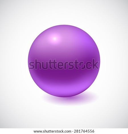 Violet 3D sphere isolated on white. Vector illustration for your design