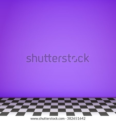 Violet empty scene  with checkerboard floor. Vector.