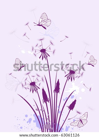 violet floral background with dandelion