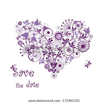 Violet floral heart - stock vector
