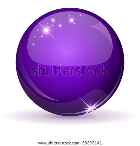 Violet glossy sphere isolated on white. - stock vector