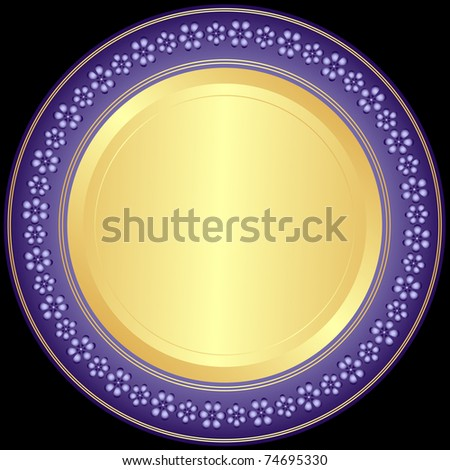 Violet-golden decorative plate with floral ornament on black (vector) - stock vector