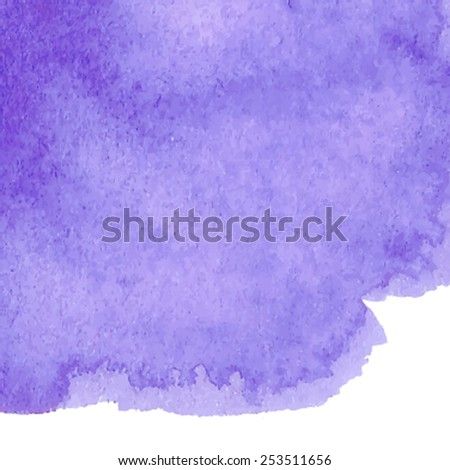 Violet macro watercolor paper texture stain on white background. Wet brush streaks hand painted abstract illustration. Artistic design element for card, banner, scrapbook, wallpaper, template, print  - stock vector