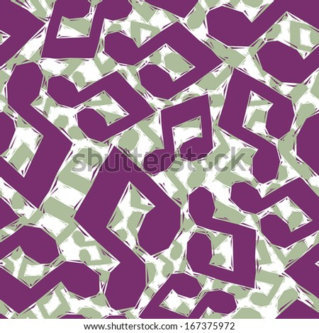 Violet musical notes seamless pattern, geometric contemporary style repeating vector background, best for use as web backgrounds and wallpapers. - stock vector
