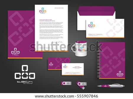 Violet orange digital tech corporate identity template design with link element. Business technology stationery