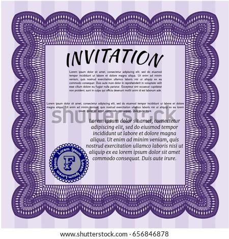 Violet retro vintage invitation vector illustration stock vector violet retro vintage invitation vector illustration with background artistry design stopboris Images