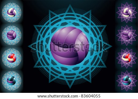 Violet volleyballs on the different background - stock vector