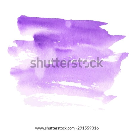 Violet watercolor hand drawn paper texture isolated striped spot on white background. Wet brush painted smudges and strokes abstract vector illustration. Design water element for banner, print, web  - stock vector