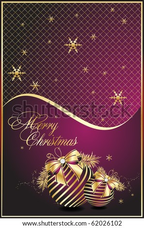 Violet xmas card templates, vector - stock vector
