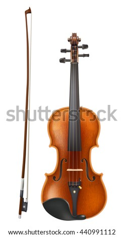 violin and a bow vector - stock vector