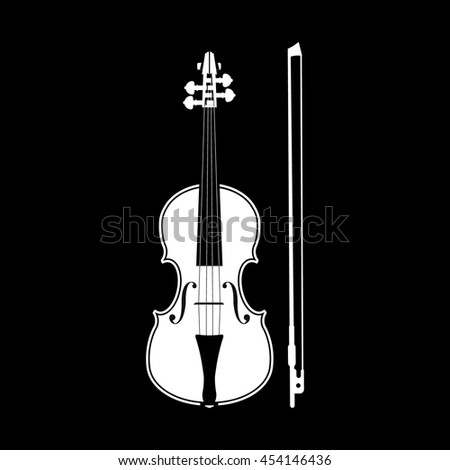 violin and bow - stock vector