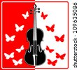 Violin and Butterfly - stock vector