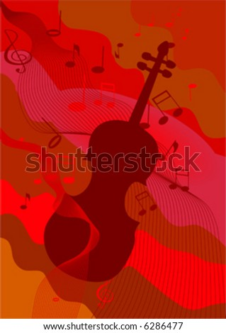 violin and music note on red background