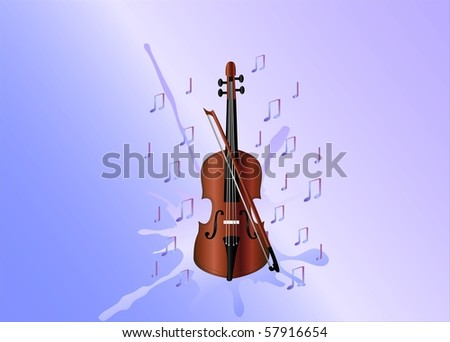 violin and notes ( background on separate layer ) - stock vector